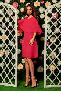 Szyfonowa sukienka z narzutką L261 malina