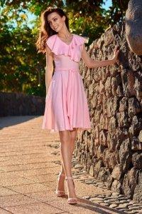 Sukienka kopertowa L253 pudrowy róż