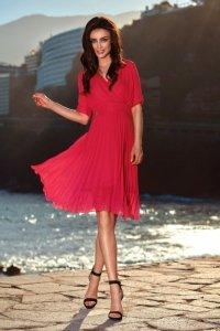 Zwiewna sukienka L255 malina