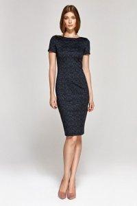 Sukienka z krótkim rękawem - wzór/granat - CS11