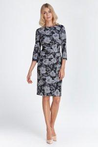 Sukienka z marszczeniami w talii - kwiaty - CS03