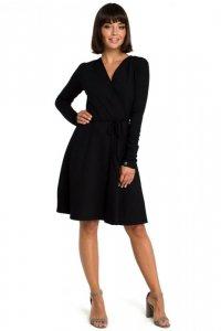 B092 Rozkloszowana sukienka z górą na zakładkę - czarna