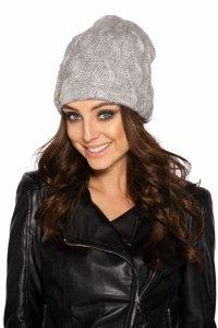 LC107 Kobieca czapka w warkocze jasnoszary