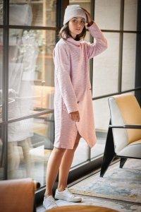 B098 Sukienka z asymetrycznym przeszyciem z przodu - puder