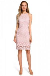 M431 Koronkowa sukienka - różowa