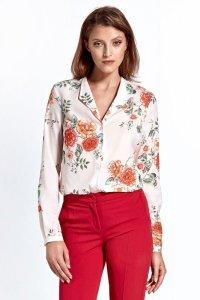 Bluzka cb22 - kwiaty/ecru - CB22