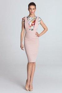 Sukienka ołówkowa z szelkami - róż - S116