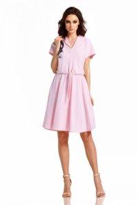 Sukienka dresowa elegancka L293 pudrowy róż