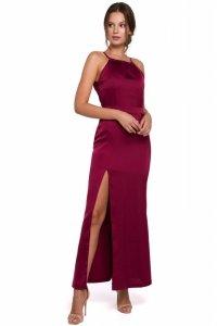 K042 Długa sukienka wiązana wokół szyi - bordowa