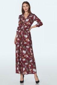 Bordowa sukienka maxi w kwiaty - S155