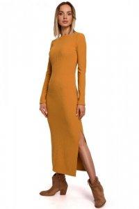 M544 Sukienka maxi z rozcięciem na nogę - musztardowa