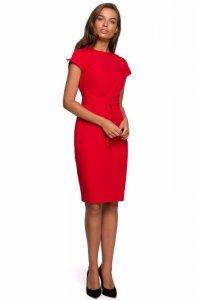 S239 Sukienka ołówkowa z przeszyciami - czerwona