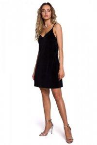 M560 Welurowa Sukienka Mini Na Ramiączkach - czarna