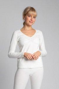 LA034 Bawełniana bluzka z długimi rękawami - ecru