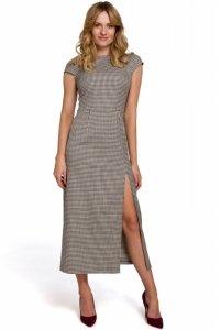 K071 Sukienka midi z półrękawkami - brązowa