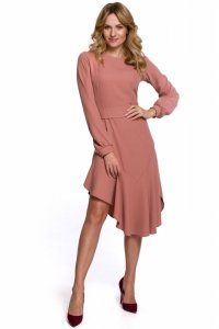 K077 Asymetryczna sukienka z falbanką - różana