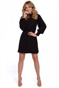K078 Sukienka z marszczonym paskiem - czarna