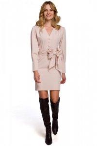 K082 Sukienka z wiązaną kokardą - beżowa