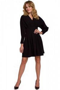 K087 Sukienka z rozkloszowanymi zakładkami - czarna