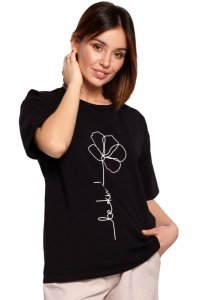 B187 T-shirt z nadrukiem - czarny
