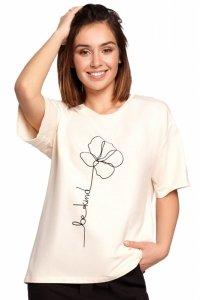 B187 T-shirt z nadrukiem - śmietankowy