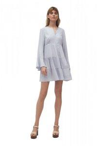 Szara sukienka wiskozowa z falbanami - S180
