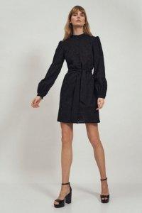 Koronkowa czarna sukienka na stójce - S167