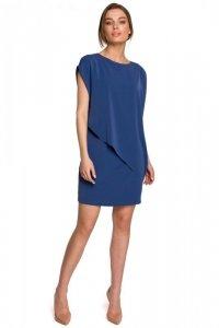 S262 Sukienka warstwowa - niebieska