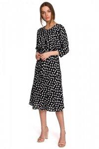 S265 Sukienka midi z kimonowymi rękawami - czarna