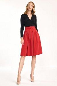 Spódnica midi z paskiem w kolorze czerwonym - SP63