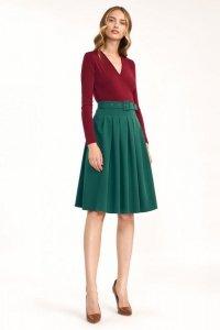 Spódnica midi z paskiem w kolorze zielonym - SP63