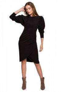 S284 Sukienka z bufiastymi rękawami - czarna