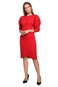 S284 Sukienka z bufiastymi rękawami - czerwona
