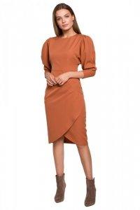 S284 Sukienka z bufiastymi rękawami - ruda
