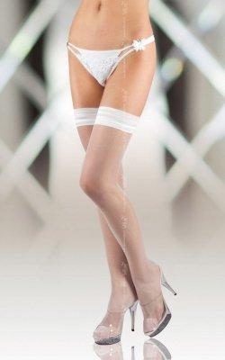 Stockings 5513 - white pończochy