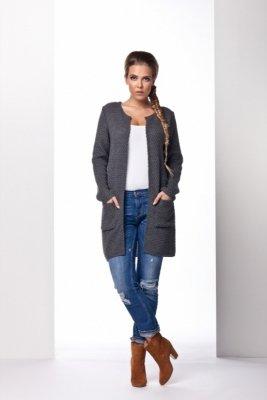 LS150 Klasyczny sweter płaszczyk grafit