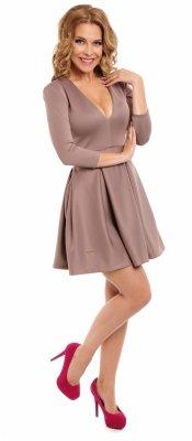VIKI Rozkloszowana sukienka z dekoltem capucino