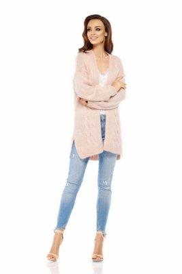 LS211 Prosty, ciepły sweter narzutka pudrowy róż