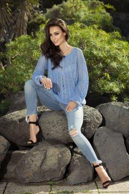 Modny ażurowy sweter LS201 szafirowy