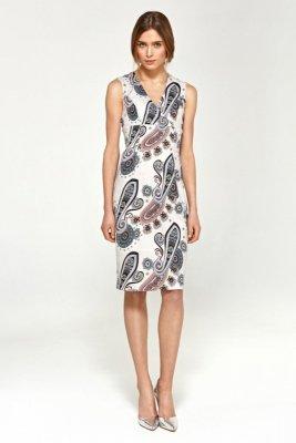 Ołówkowa sukienka z dekoltem V - wzór - S98