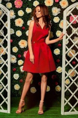 Rozkloszowana sukienka L257 czerwony