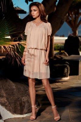 Letnia szyfonowa sukienka z krótkim rękawem L241 beżowy
