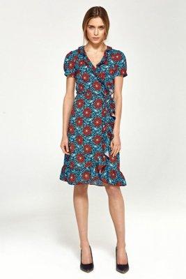 Letnia sukienka z falbanami - kwiaty - S99