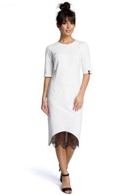 B078 Sukienka z koronką ecru