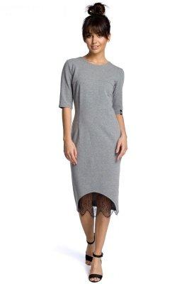 B078 Sukienka z koronką szara