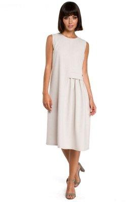 B080 Sukienka midi beżowa