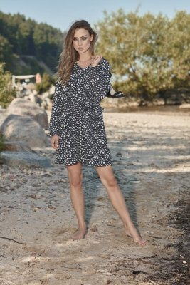 Dziewczęca sukienka we wzory L275 kropki