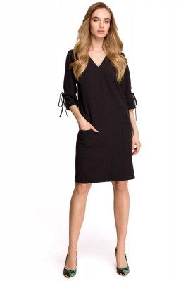 S111 Sukienka z kieszeniami - czarna