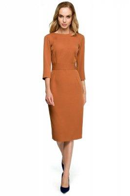 S119 Sukienka ołówkowa z guzikami z tyłu - ruda