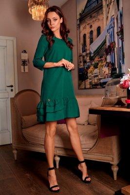 Klasyczna sukienka z falbanką L272 ciemna zieleń